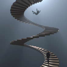 Man Falls From Spiral Staircase