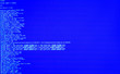 canvas print picture - Terminal command, CLI, front view. Web security. UNIX bash shell, copy space, blue background
