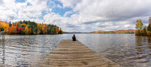 Sittin' By The Dock of the Lake, New York Canvas Print