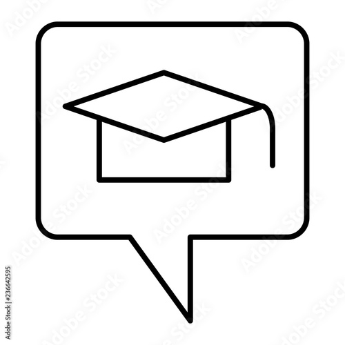 Graduation message thin line icon  Graduate hat in speech