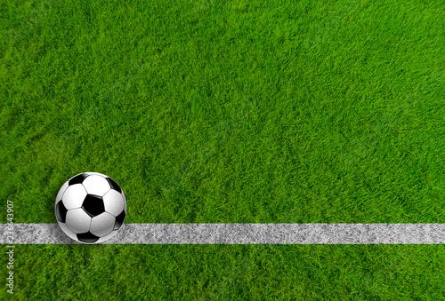 Fototapeta Piłka nożna na trawie jako panoramiczne tło obraz