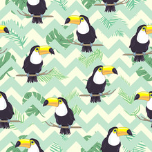Tropical Seamless Pattern With Toucans, Exotic Leaves And Pineapples. Vector Illustration