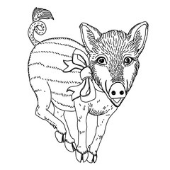 Pig with ribbon black and white line drawing template for engraving, embroidery, burning out on a tree and other creative