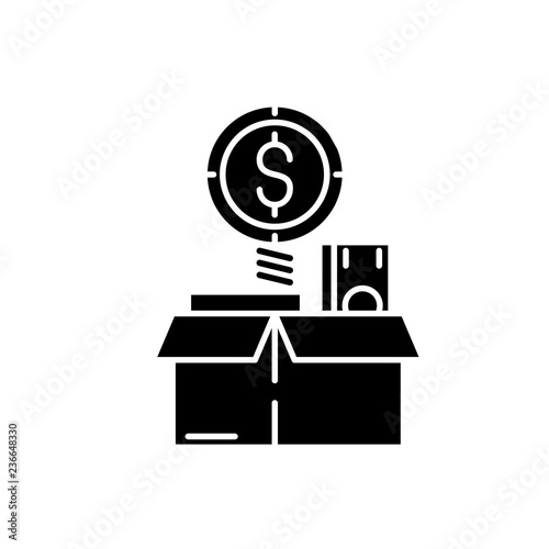 Fotografía  Financial wealth black icon, concept vector sign on isolated background