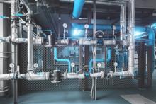 Gas Pipeline With Industrial High Pressure Gas Gauge Meters Installed In Boiler Room