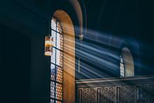 Light Rays Through The Black Window. Toned Photo