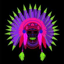American Indian Skull Wearing War Bonnet Neon Vivid Colors