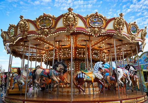 carousel details in amusement park Tablou Canvas