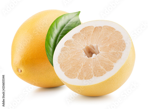 pomelo with half of pomelo isolated on a white background