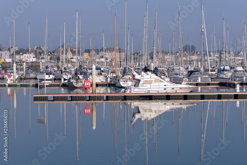 Keuken foto achterwand Poort Port with big reflection on water at Saint-Vaast-la-Hougue, a commune in the peninsula of Cotentin in the Manche department in Lower Normandy in north-western France