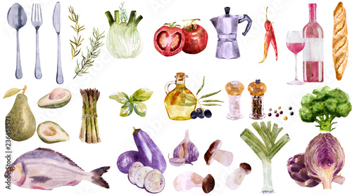 Watercolor vegetables set. Painted natural organic fresh farm food illustration on white background.