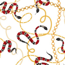 Golden Chains And Snakes Seamless Pattern. Fashion Background Of Gold Links With Tropical Snake. Fabric Design With Jewelry Chain For Textile, Wallpaper. Vector Illustration
