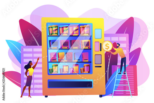 Staande foto Hoogte schaal Consumer inserts dollar coin into vending machine and buys snacks and drink. Vending machine service, vending business, self-service machine concept. Bright vibrant violet vector isolated illustration