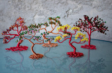 Lineup Of Beaded Wire Bonsai Trees Art