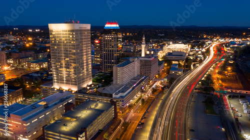 Valokuva  Springfield Massachusetts Early Evening Rush Hour Traffic Aerial View
