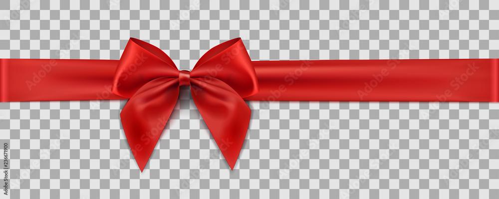 Fototapeta Red ribbon on transparent background. Gift decoration - stock vector