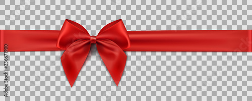 Leinwand Poster Red ribbon on transparent background