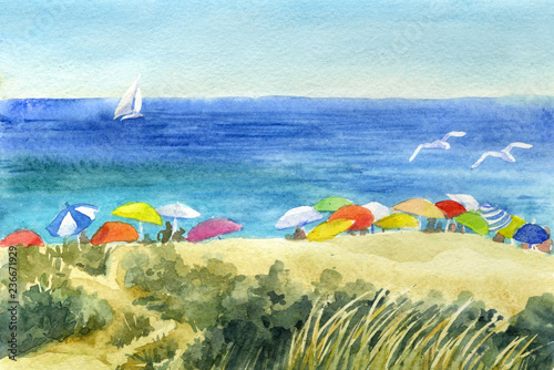 Fotografia  Watercolor sketch. Sunshades on the sandy beach