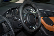 Steering Wheel In Modern Luxur...