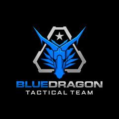 Dragon Head Tactical Military Logo Design
