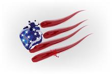 USA Flag Watercolor Logo