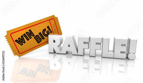 Cuadros en Lienzo Raffle Ticket Win Big Money Jackpot Word 3d Illustration