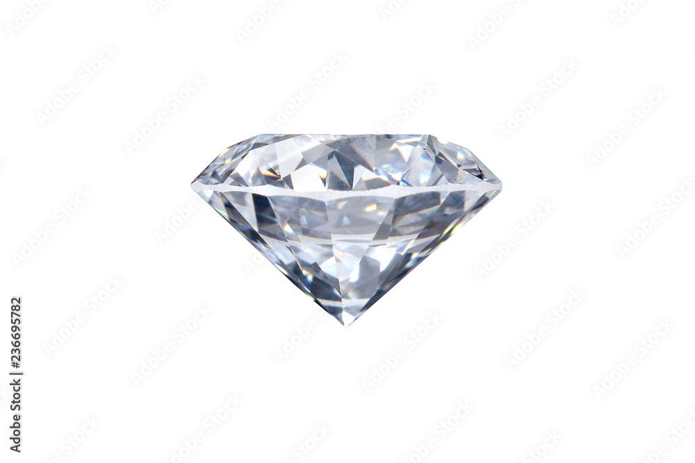 Fototapeta real loose brilliant round diamond side view on white background