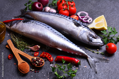 Mackerel fish with spices and vegetables