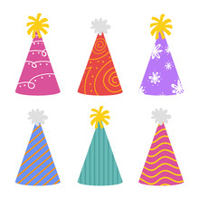 Party Hat For Holiday Celebration For Happy New Year . Happy Birthday, Cheerful And Greeting For Card Invitation Concept Flat Vector Illustrator.