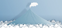 Philippines Mayon Volcano In Paper Cut Style Vector Illustration