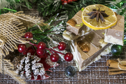 On The Table Laid Christmas Decorations Festive Cake