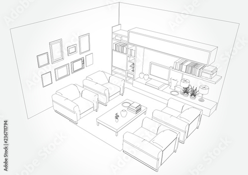 Linear Sketch Of An Interior Living Room Plan Sketch Line Sofa Set