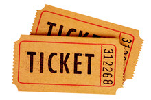 Two Old Movie Tickets Isolated White Background.