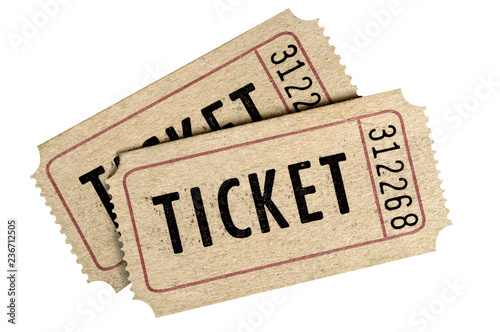 Cuadros en Lienzo Two old movie ticket stub isolated white background.