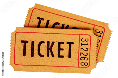 Cuadros en Lienzo Two old movie tickets isolated white background.