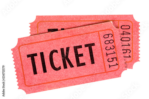 Cuadros en Lienzo Two red movie or raffle tickets isolated