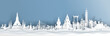 Panorama view of Thailand skyline with world famous landmarks in paper cut style vector illustration