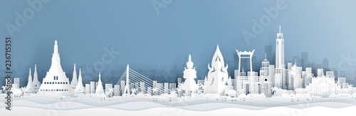 Canvas-taulu Panorama view of Thailand skyline with world famous landmarks in paper cut style