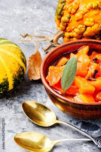 Fotobehang Kruiderij Pumpkin confiture, jam, sauce