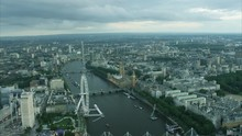 Aerial View Of London Eye And ...