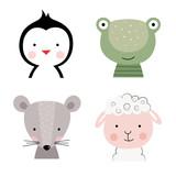 Fototapeta Fototapety na ścianę do pokoju dziecięcego - Cartoon cute animals for baby card and invitation. Vector illustration. Penguin, frog, mouse, sheep.
