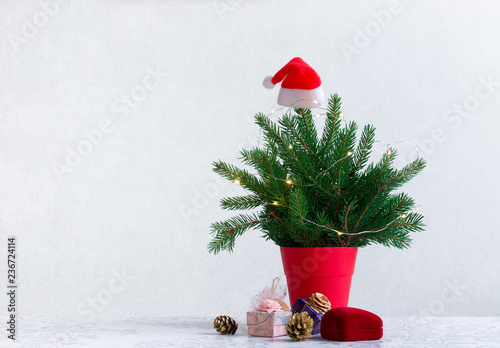 Acrylic Prints Roe on a light background there is a Christmas tree decorated with lights in a red pot under it. Gifts of cones