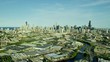Aerial distant view of Chicago USA cityscape and industrial areas