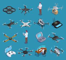 Drones Quadrocopters Isometric...