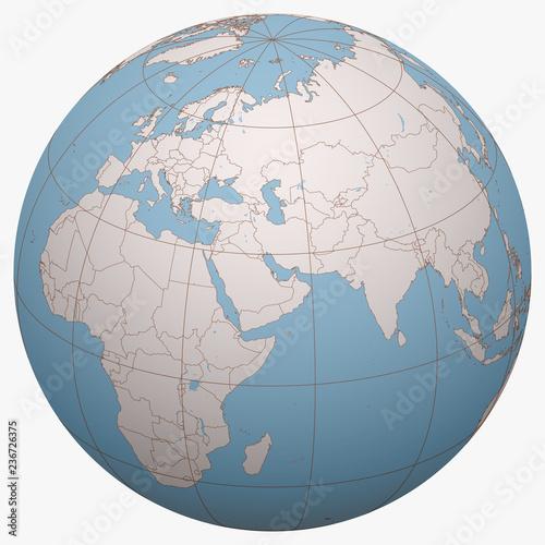 Bahrain on the globe. Earth hemisphere centered at the ...