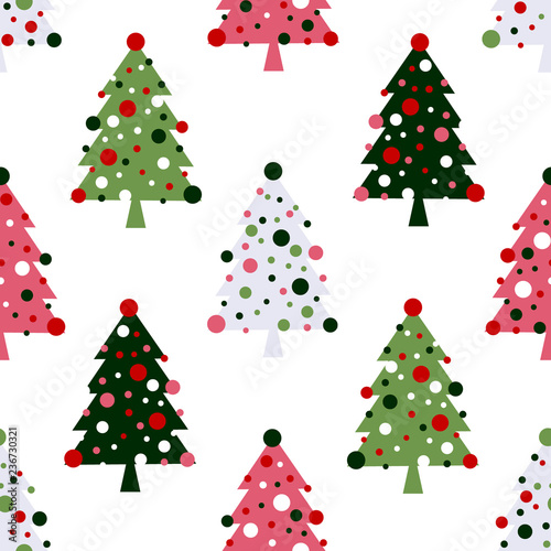 Fotografie, Obraz  Seamless pattern with decorated christmas trees, raster version