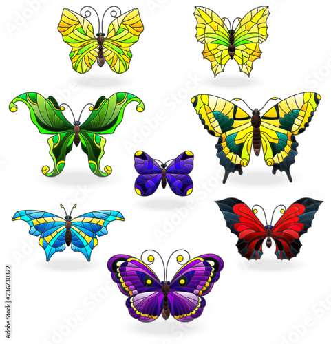 Fotografie, Obraz  Set of bright abstract butterflies in stained glass style, isolated on white bac