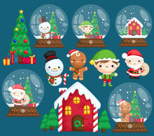 A Vector Set Of Many Character In Christmas Theme