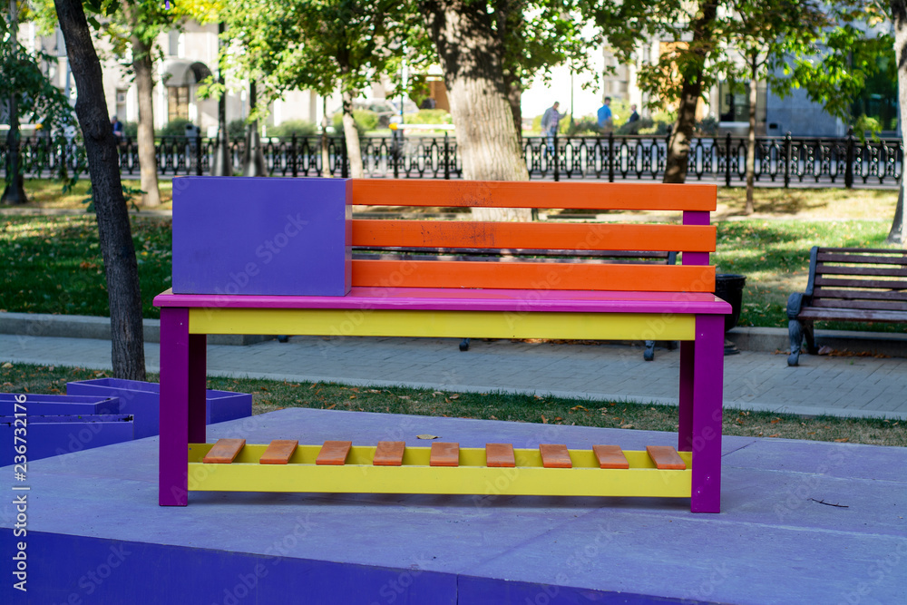 Prime Photo Art Print Multicolored Wooden Bench Europosters Pabps2019 Chair Design Images Pabps2019Com