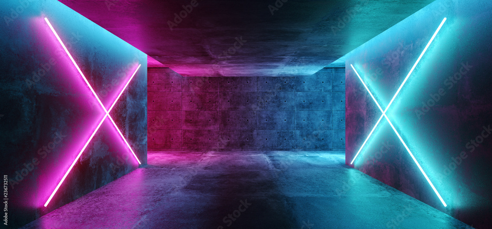 Fototapeta Modern Futuristic Sci Fi Concept Club Background Grunge Concrete Empty Dark Room With Neon Glowing Purple And Blue Pink Neon Lights 3D Rendering